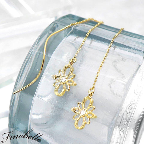 Thick 22k Plating Marquise Drop Openwork Earrings