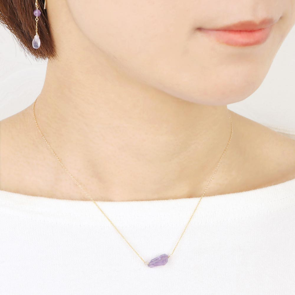Single Stone Amethyst 925 Silver Necklace
