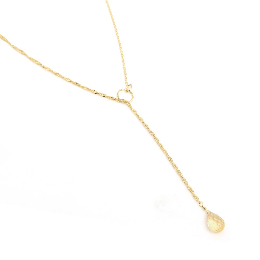 Citrine Teardrop Stone Lariat Necklace - osewaya