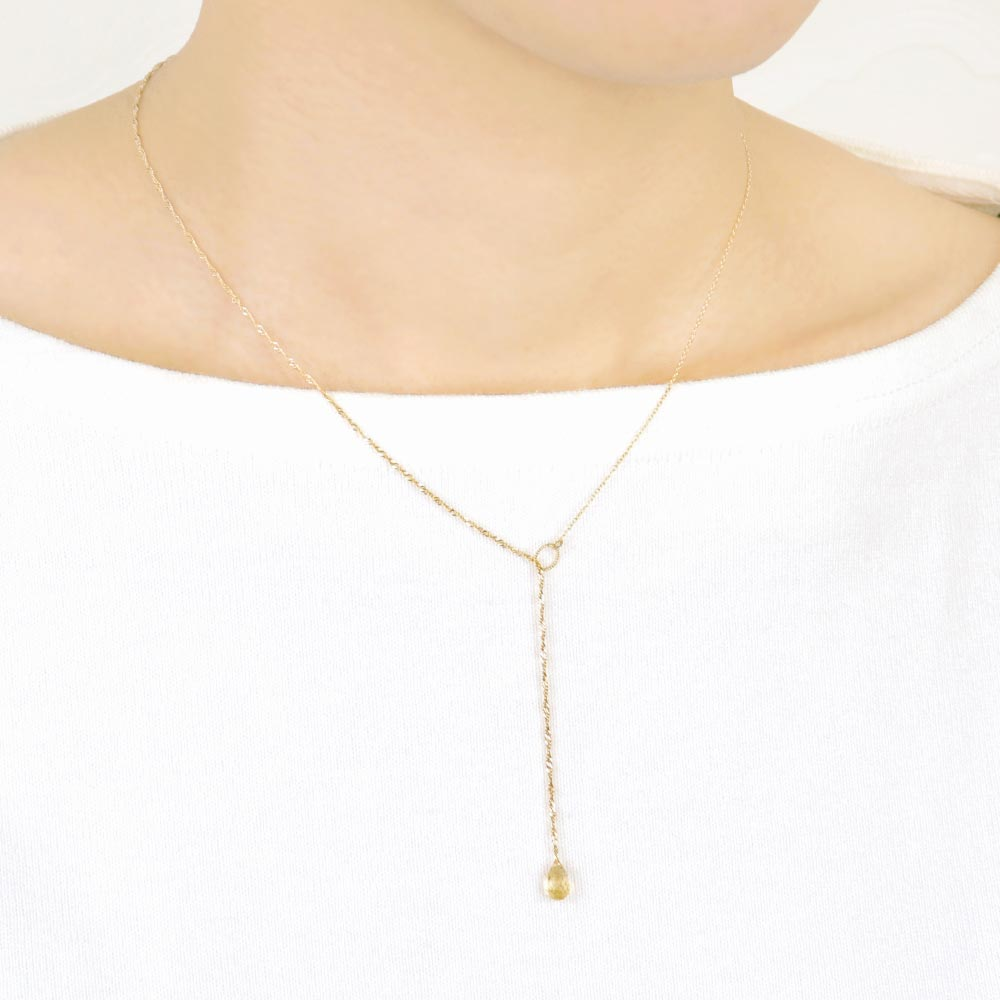 Citrine Teardrop Stone Lariat Necklace