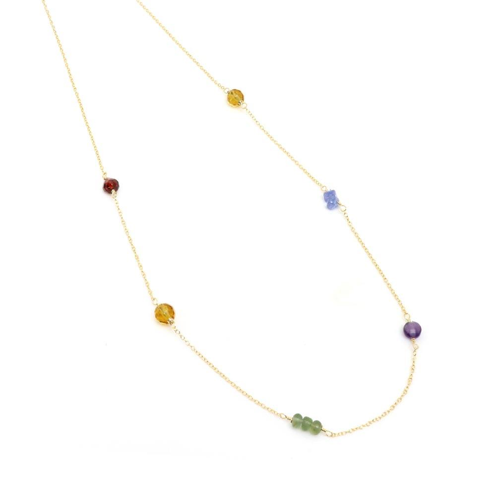 Mixed Gemstone 925 Silver Short Station Necklace - osewaya