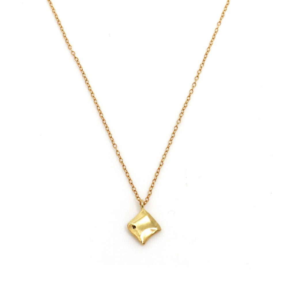 Melee Diamond Square Plate Gold Tone 925 Silver Necklace - osewaya