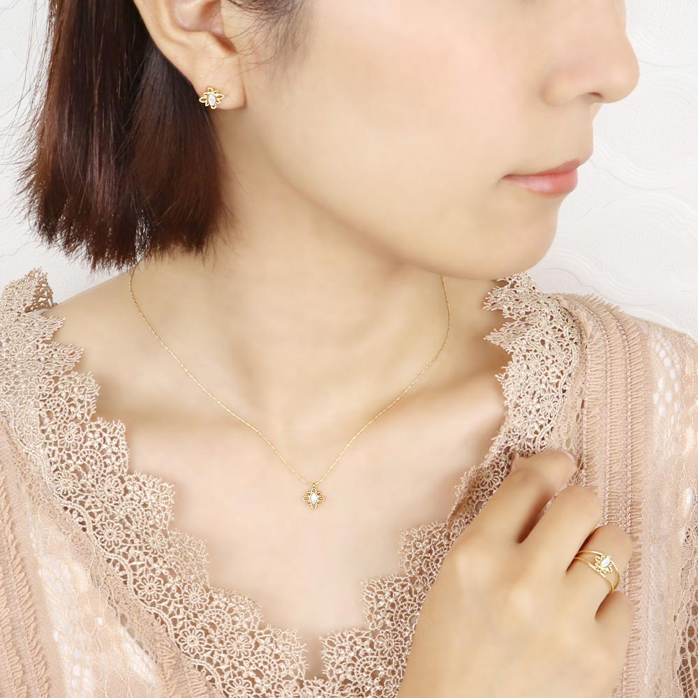Milky White Shell Filigree Lace Necklace