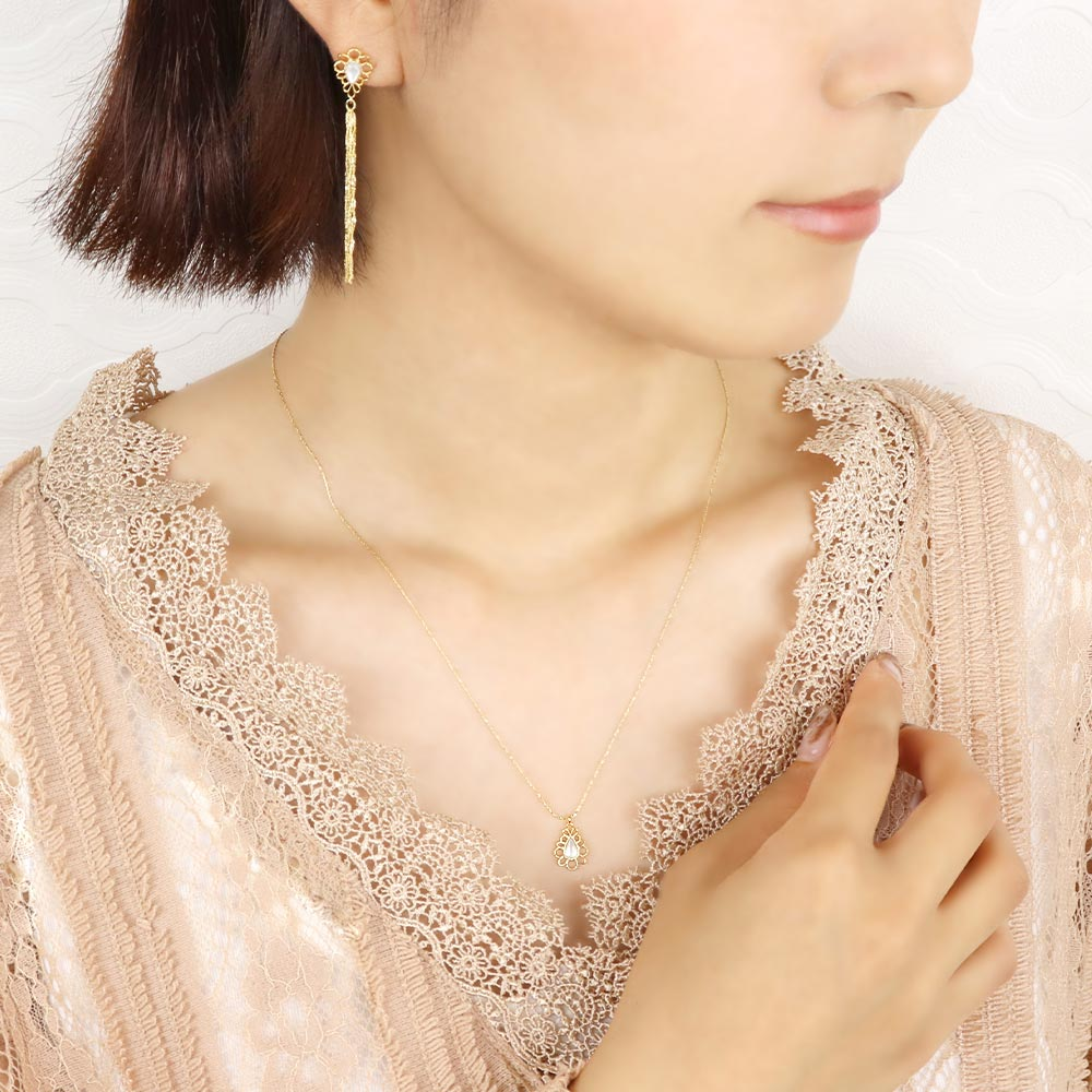 Milky White Shell Filigree Drop Necklace