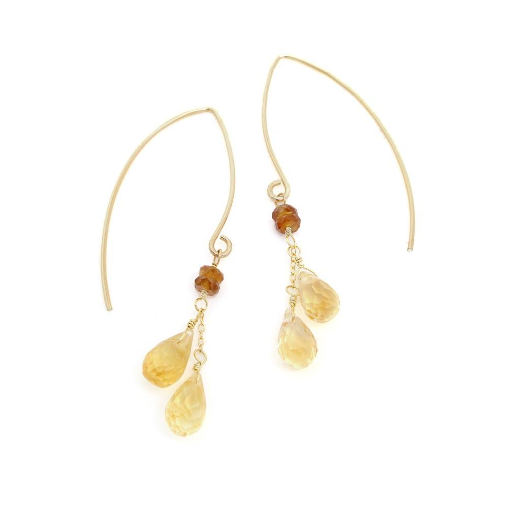 Citrine and Orange Garnet Wire Through 925 Silver Earrings - osewaya