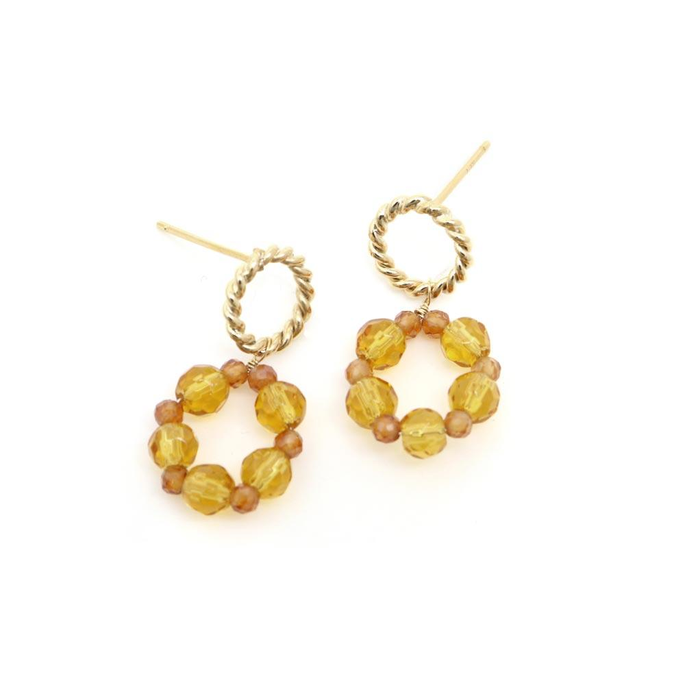 Citrine and Orange Garnet Wreath 925 Silver Earrings - osewaya