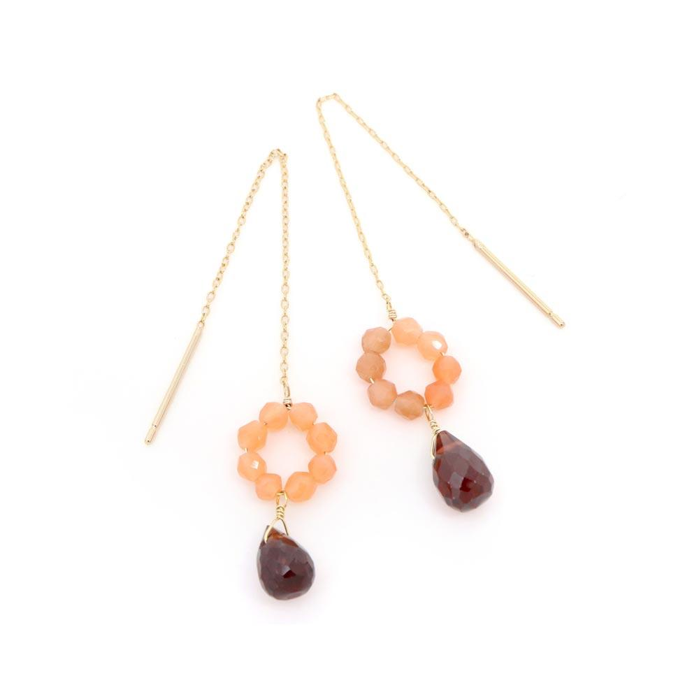 Garnet and Orange Moonstone Threader Earrings - osewaya