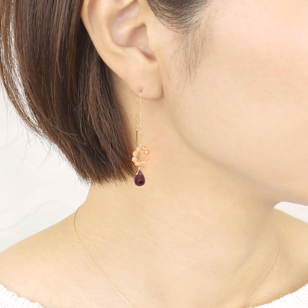 Garnet and Orange Moonstone Threader Earrings