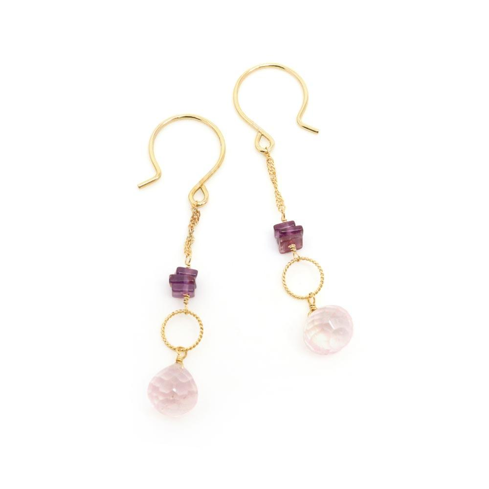 Rose Quartz and Garnet 925 Silver Drop Earrings - osewaya