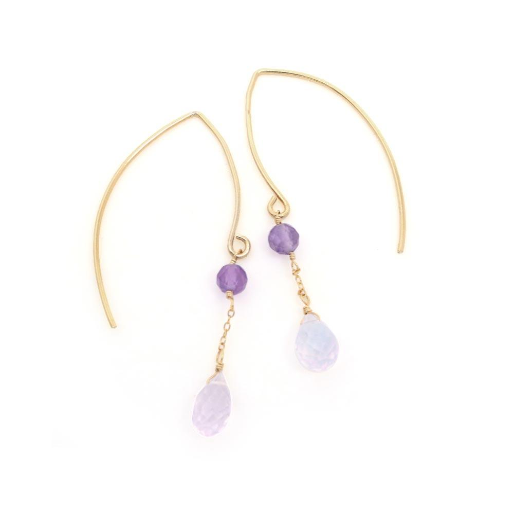 Amethyst and Scorolite 925 Silver Wire Through Earrings - osewaya
