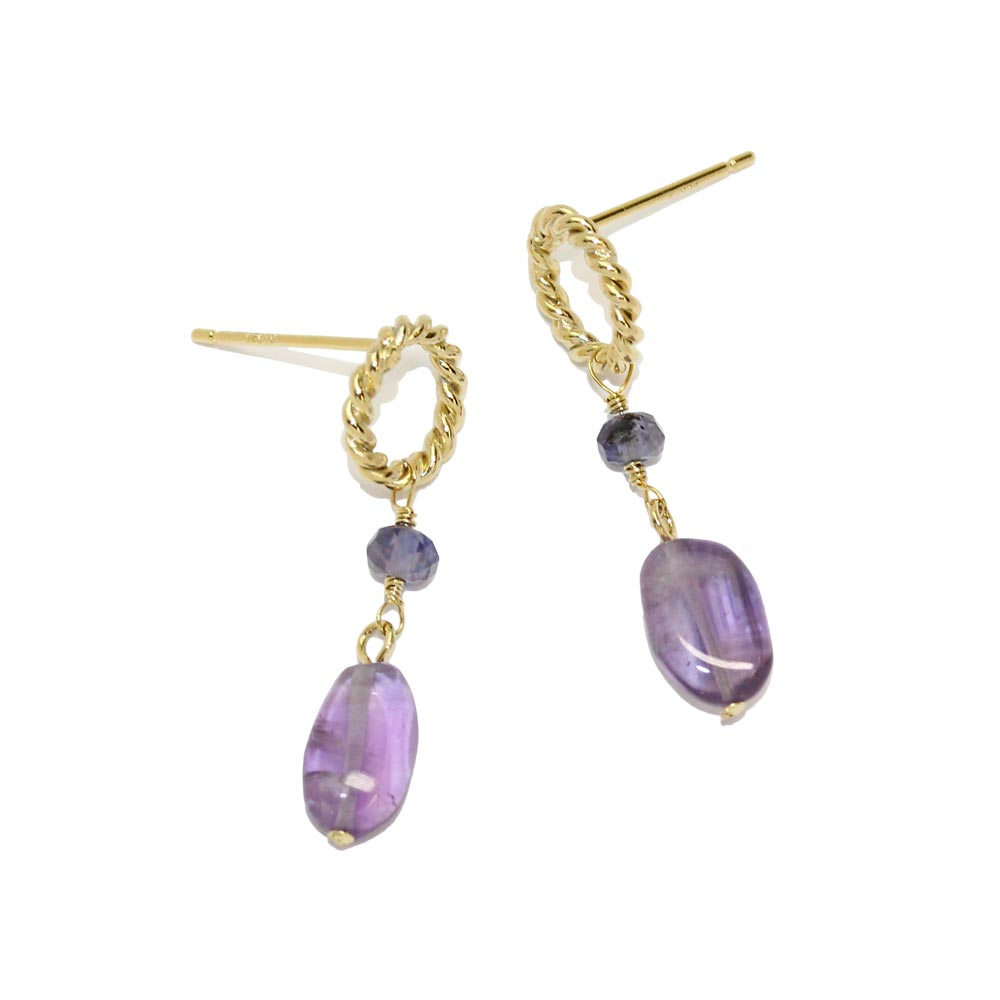 Amethyst and Iolite 925 Silver Dangle Stone Earrings - osewaya