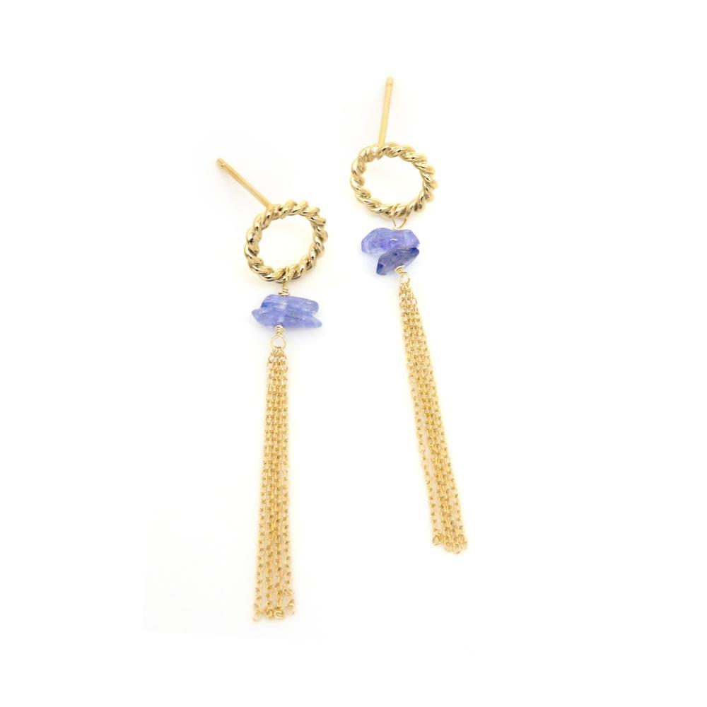 Tanzanite Chain Tassel 925 Silver Earrings - osewaya