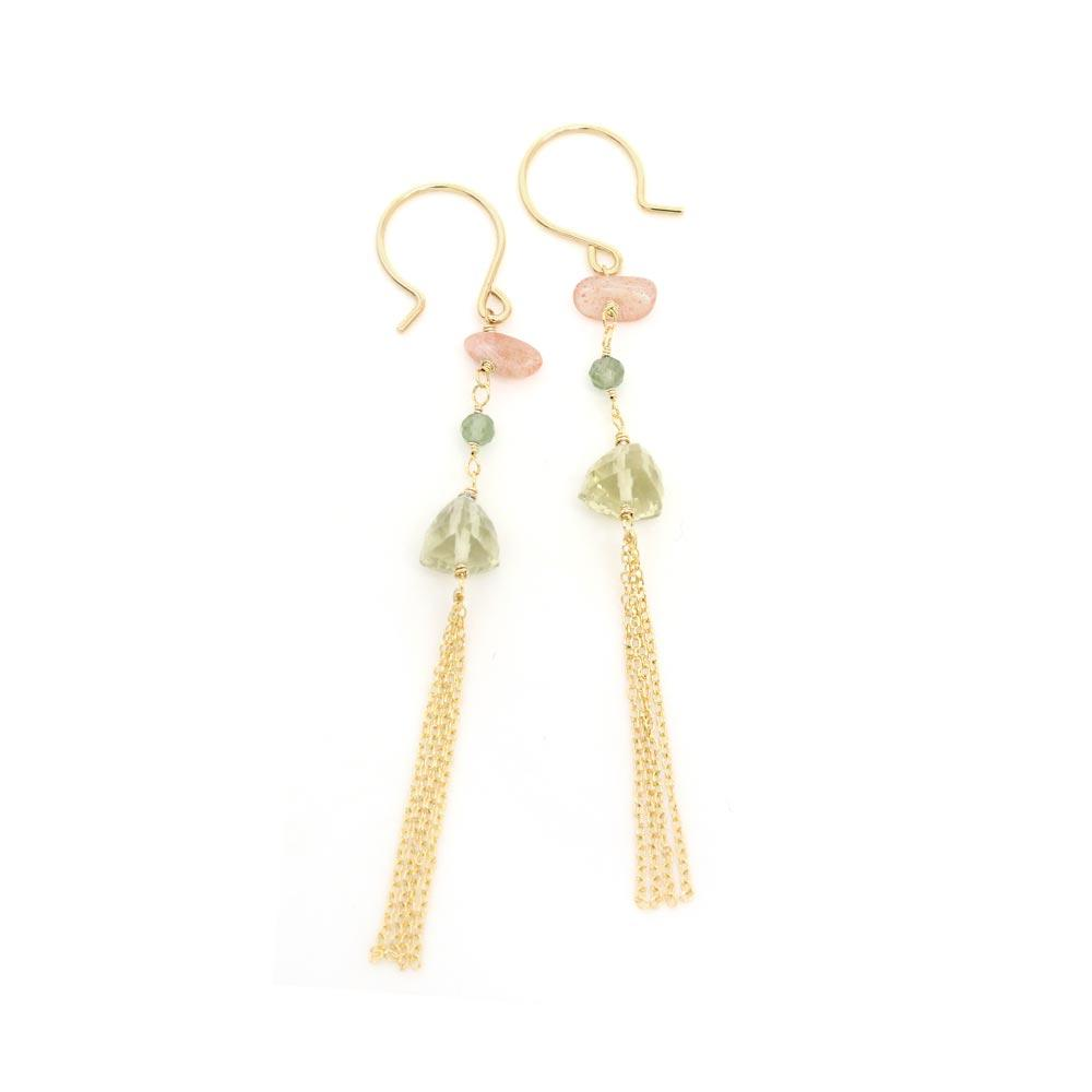 Multiple Gemstone Tassel 925 Silver Earrings - osewaya