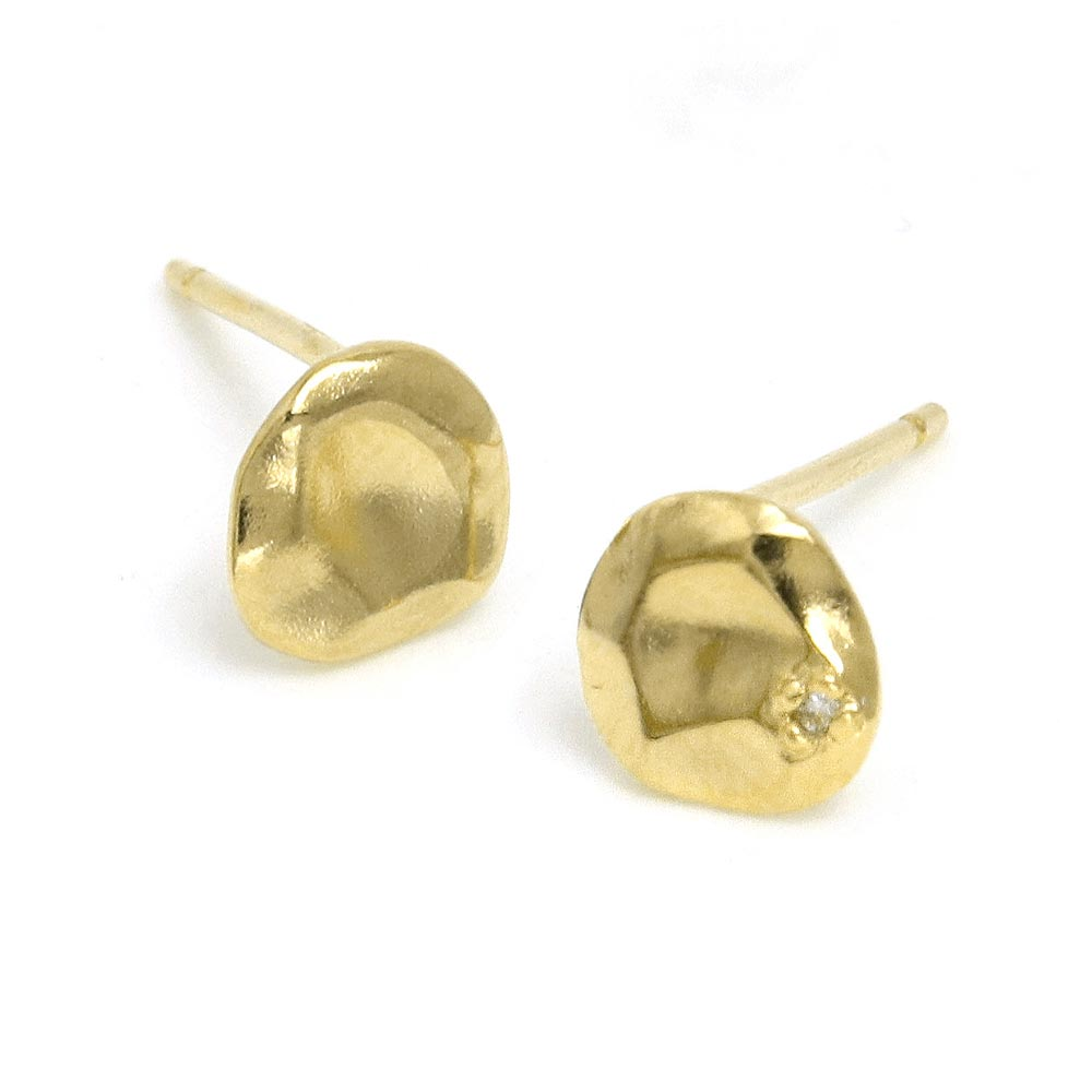 Melee Diamond Circle Plate Gold Tone 925 Silver Earrings - osewaya