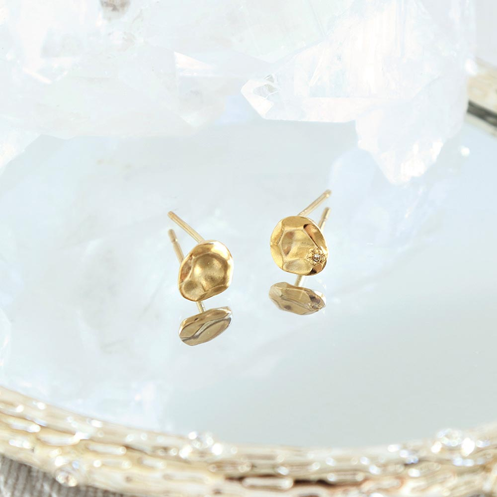 Melee Diamond Circle Plate Gold Tone 925 Silver Earrings