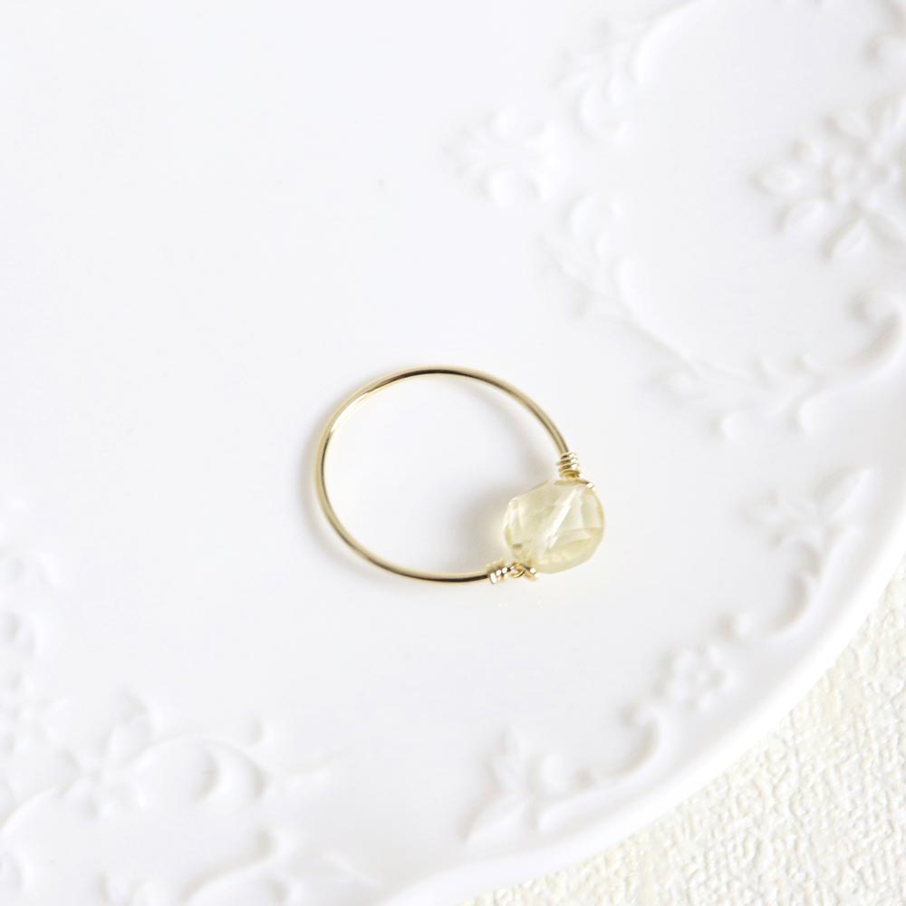 Citrine Round Stone 925 Silver Wire Ring
