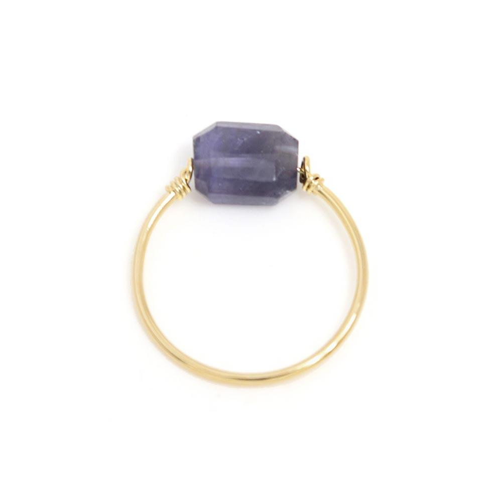 Iolite Single Stone 925 Silver Wire Ring - osewaya