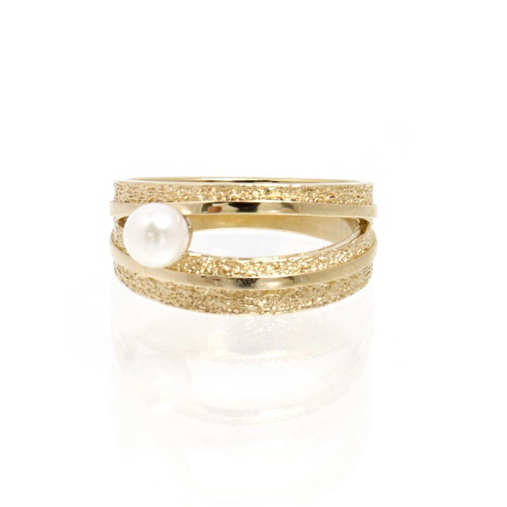 Single Akoya Pearl Satin Finish Ring #11 - osewaya