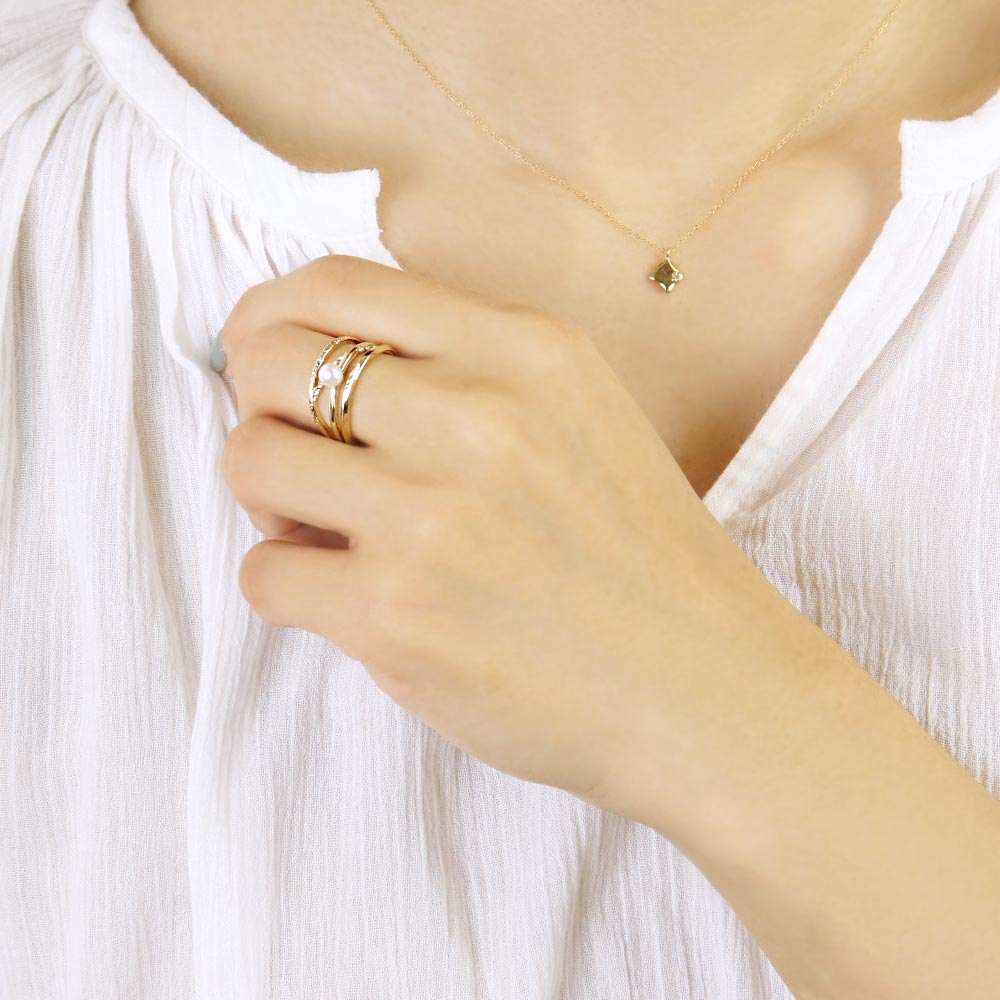 Akoya Pearl Multi Line Ring