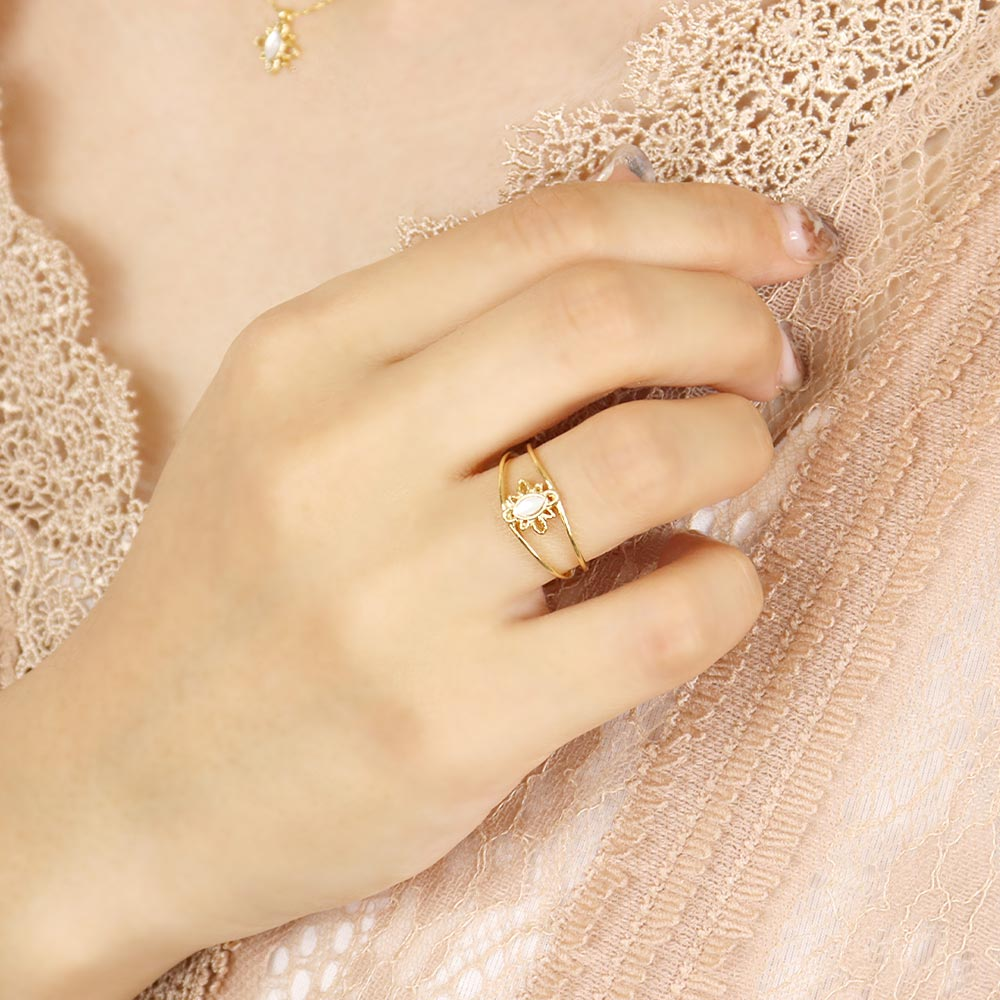 Milky White Shell Filigree Lace Ring