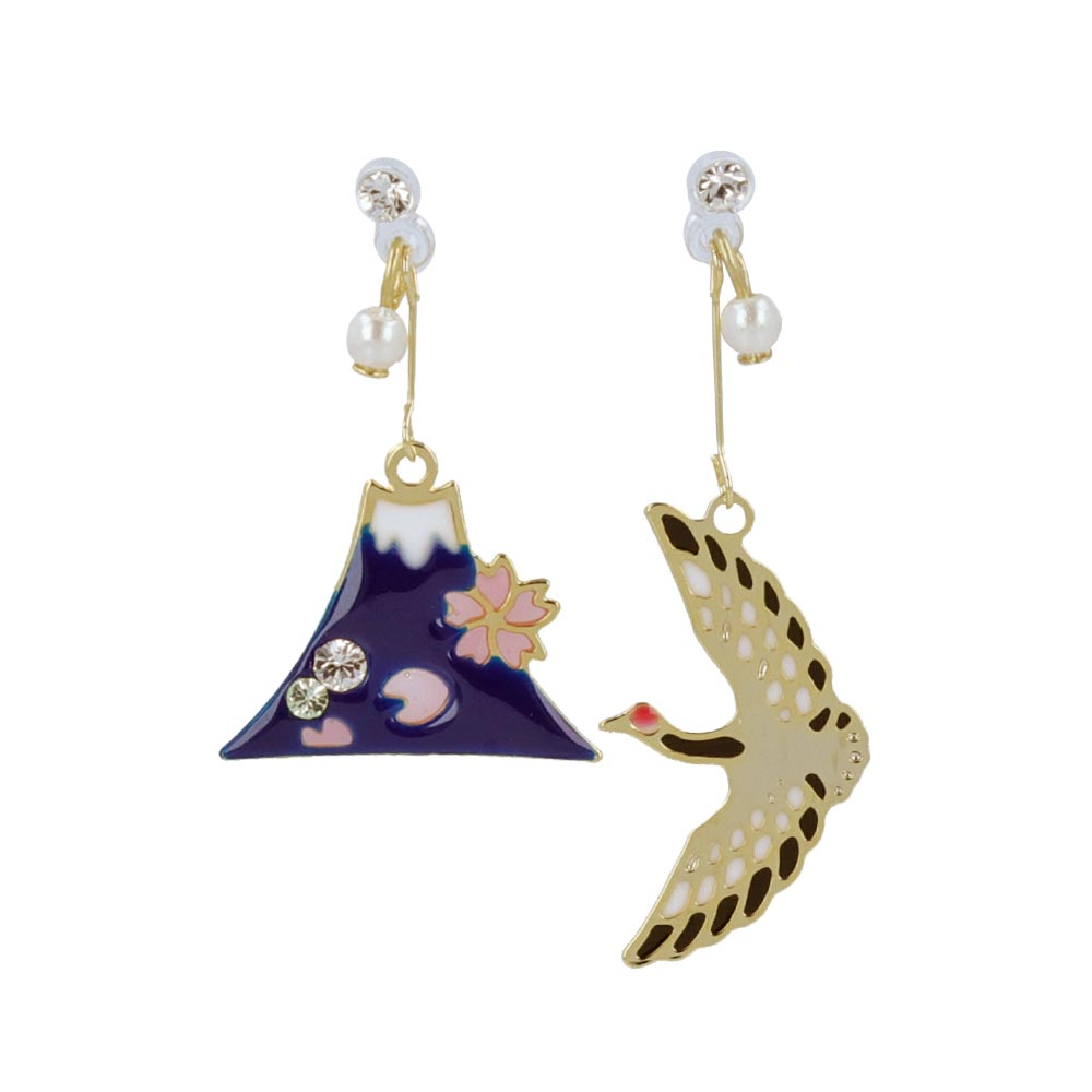 Crane and Fujiyama Japanese Traditional Symbol Invisible Clip On Earrings - osewaya