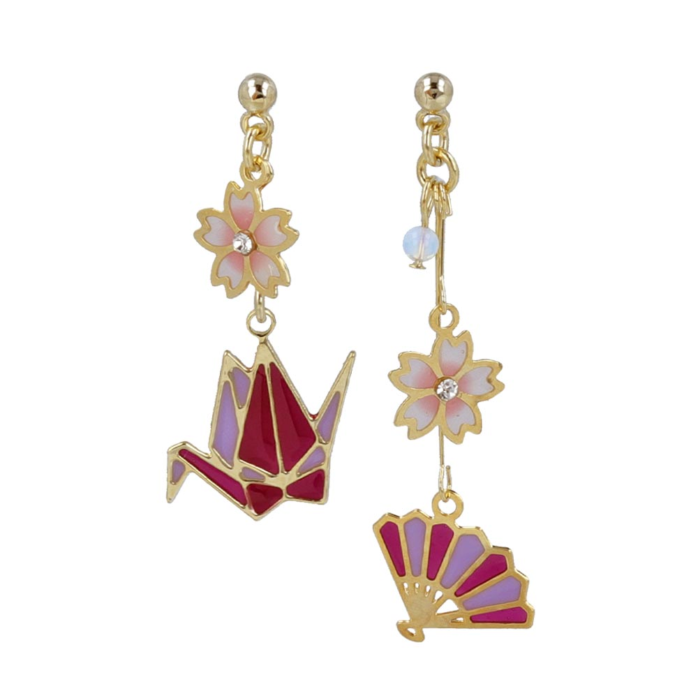 Sakura and Japanese Traditional Motif Invisible Clip On Earrings - osewaya