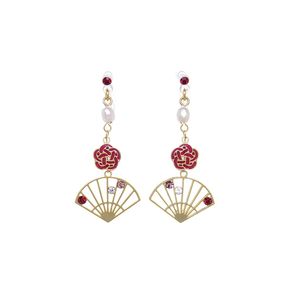 Plum Flower and Hand Fan Japanese Motif Earrings - osewaya