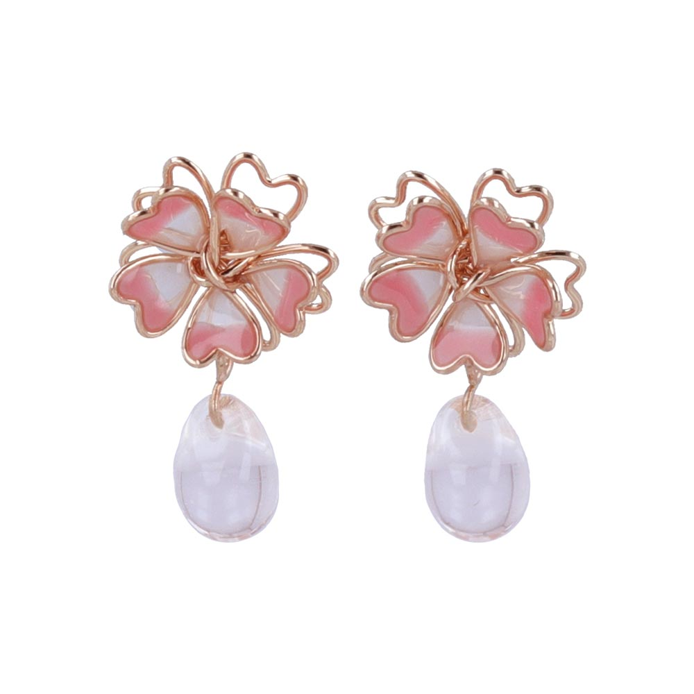 Cherry Blossom and Teardrop Stone Invisible Clip On Earrings - osewaya
