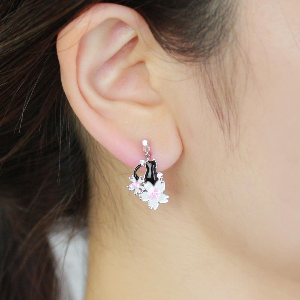 Cherry Blossom Sakura and Cat Invisible Clip On Earrings