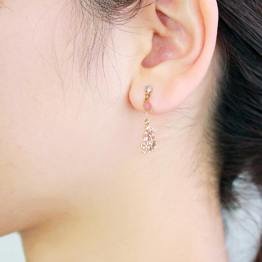 Sakura and Hand Fan Traditional Symbol Earrings