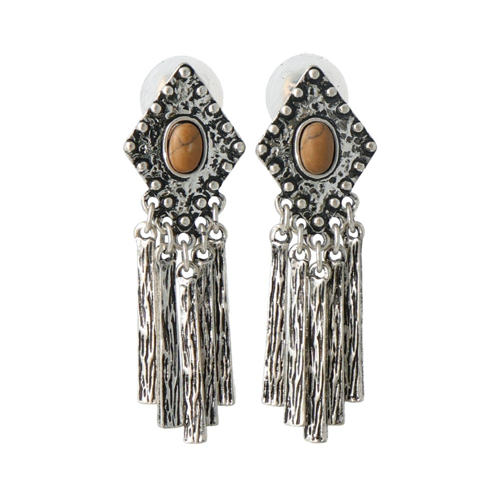 Metal Tassel Sleeved Clip On Earrings - osewaya