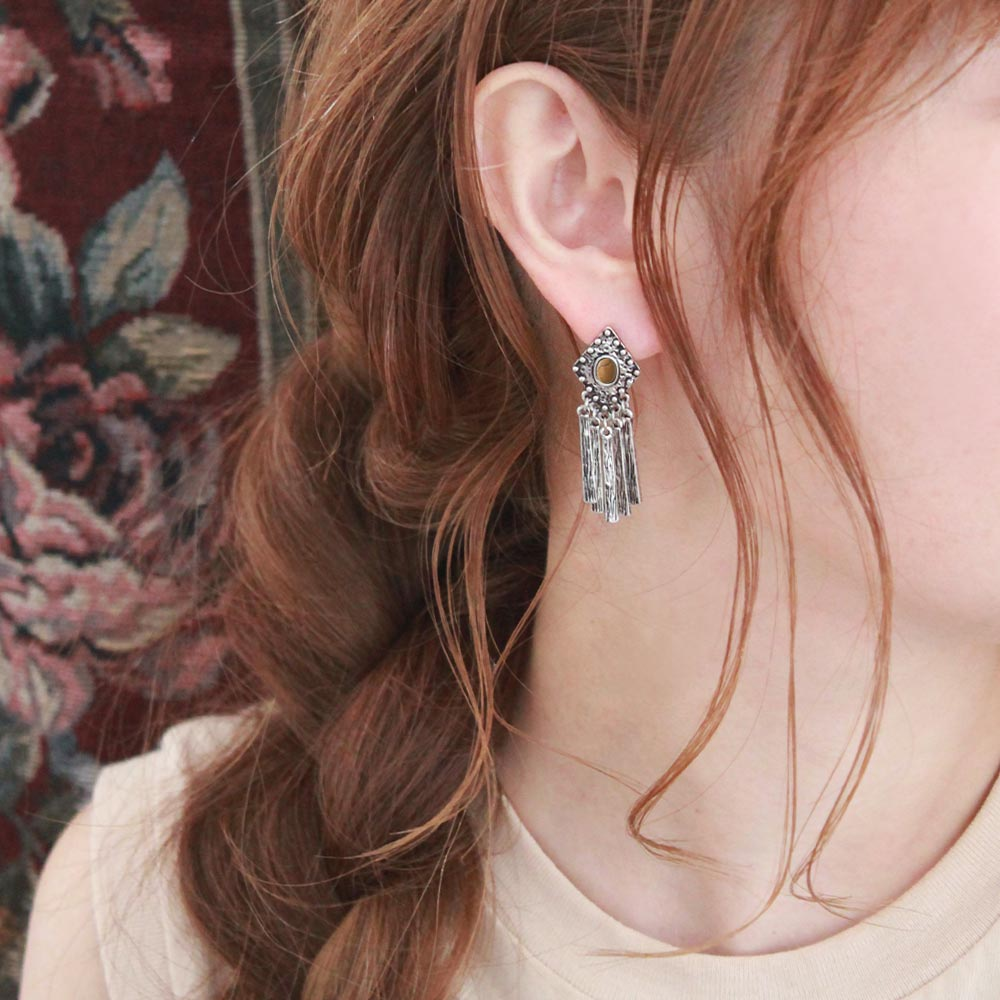 Metal Tassel Sleeved Clip On Earrings