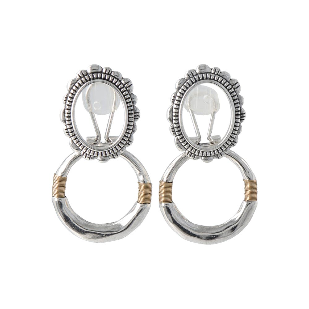 Double Hoop Changeable Sleeved Clip On Earrings - osewaya