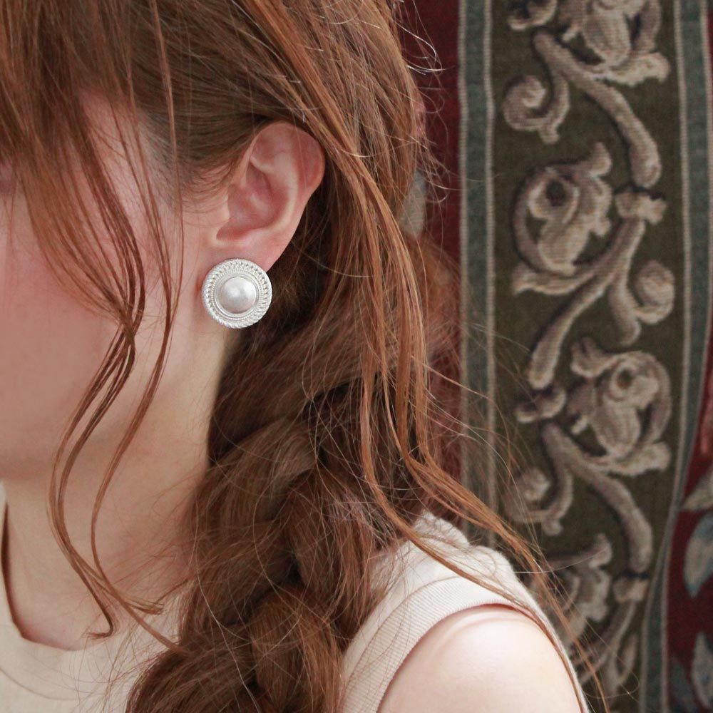 Metal Button Sleeved Clip On Earrings