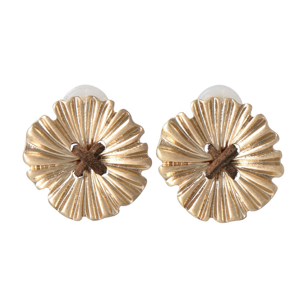 Flower Button Sleeved Clip On Earrings - osewaya
