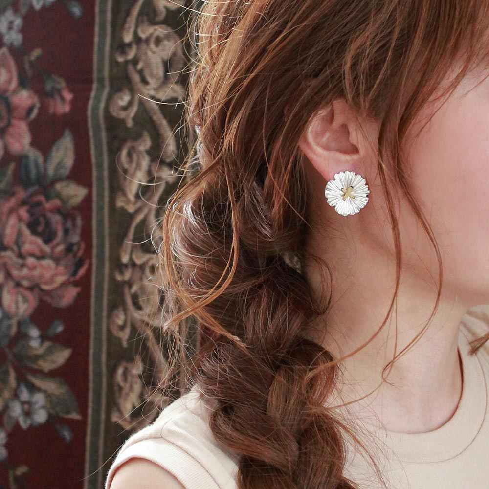 Flower Button Sleeved Clip On Earrings