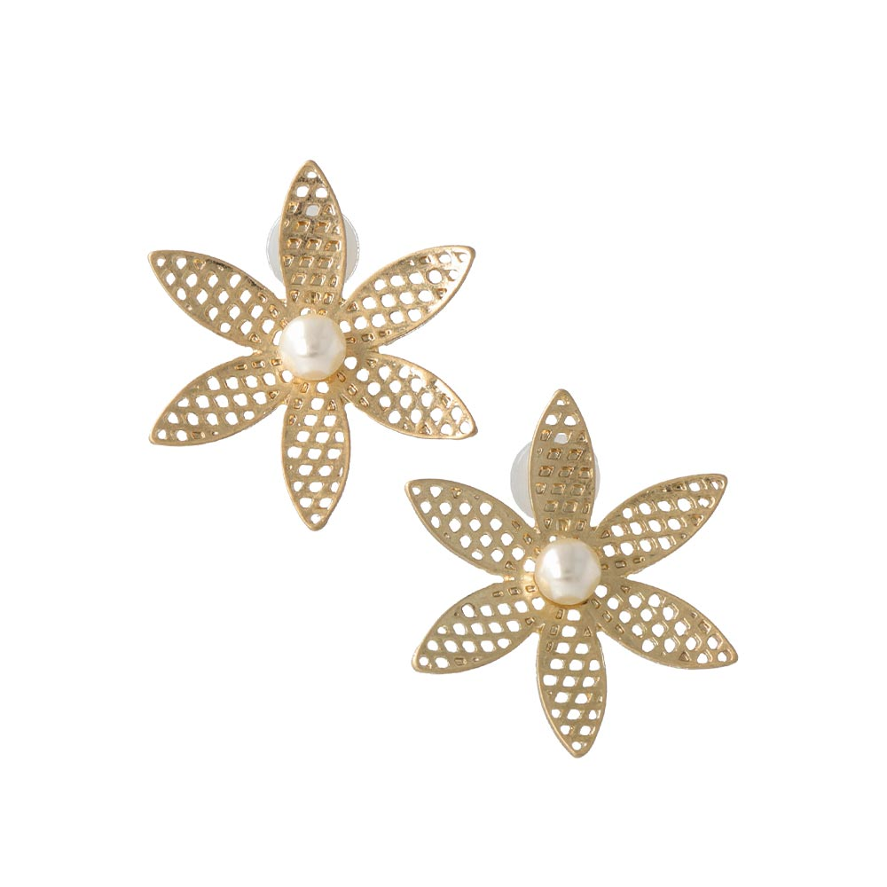 Mesh Flower Sleeved Clip On Earrings - osewaya