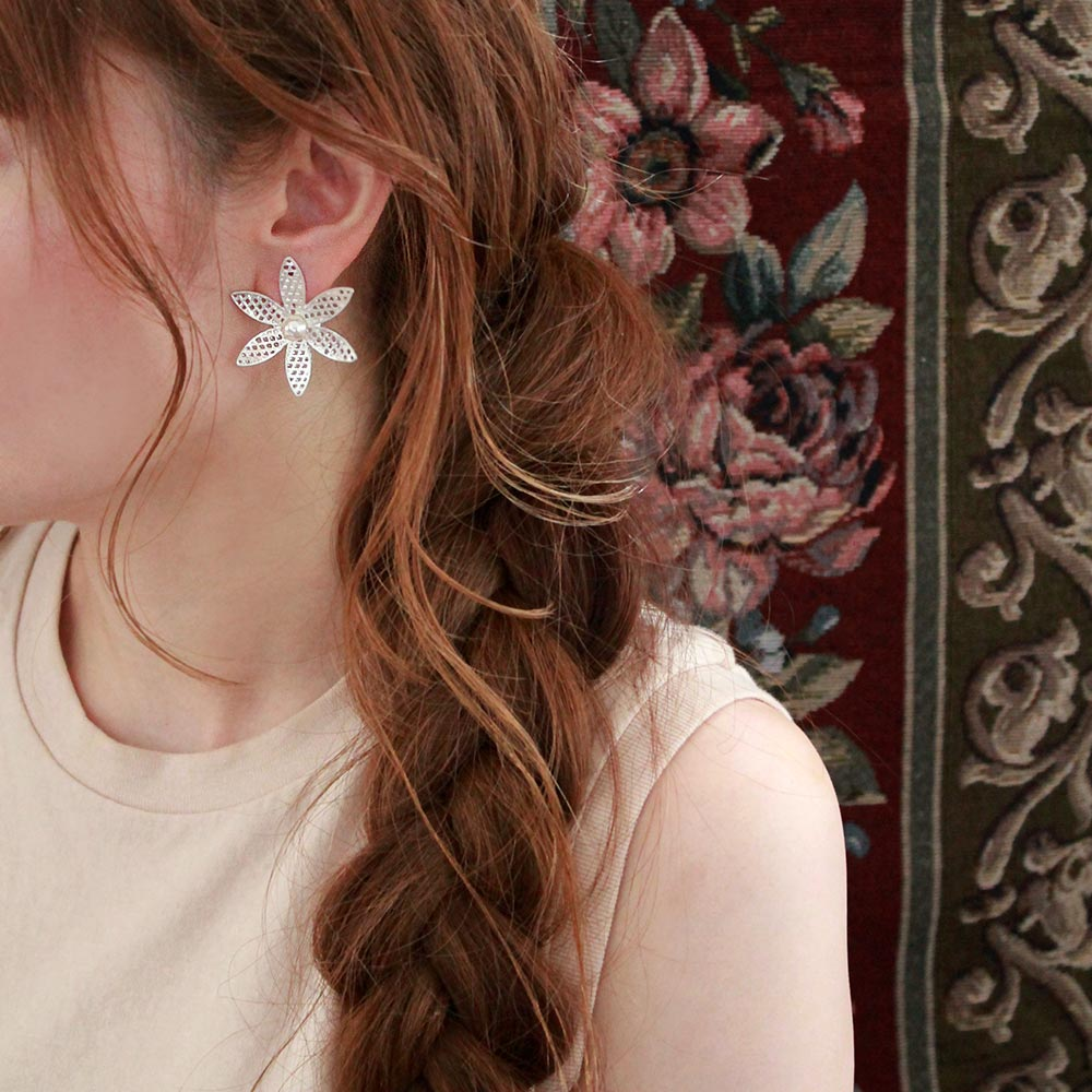 Mesh Flower Sleeved Clip On Earrings
