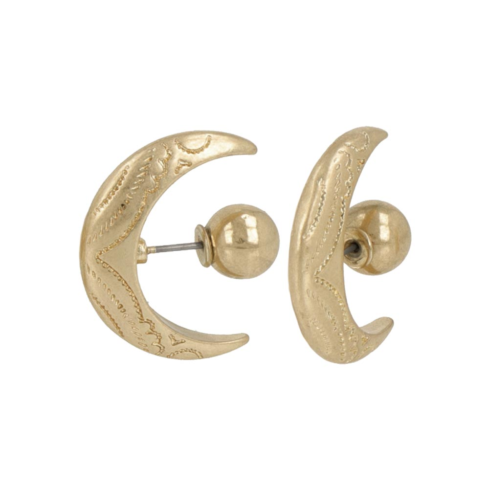 Crescent Moon Front Back Earrings - osewaya
