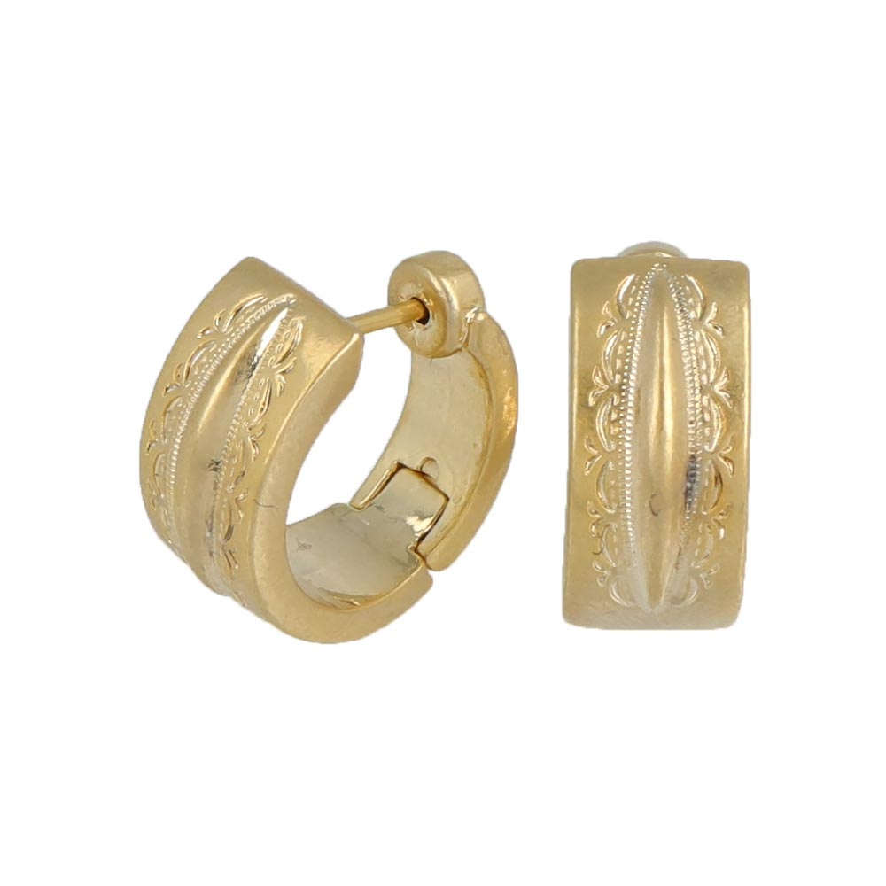 Smooth Touch Engraved Hoop Earrings