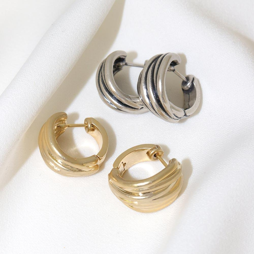 Grooved Hoop Latch Back Earrings