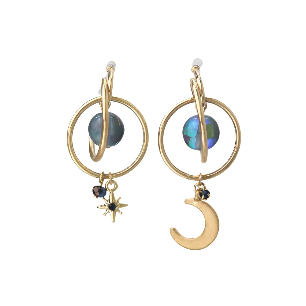 Star and Crescent Moon Orbital Hoop Invisible Clip On Earrings