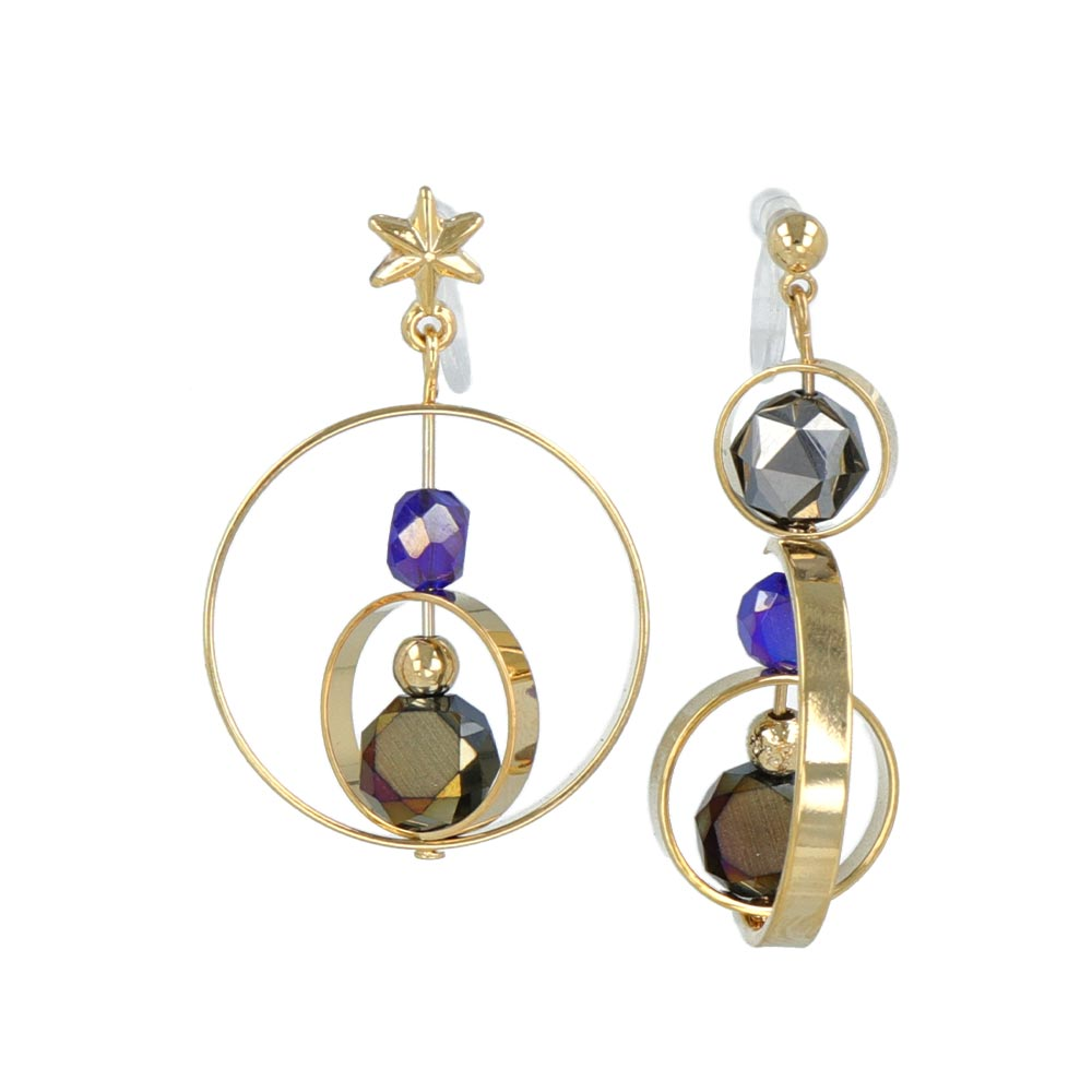 Aurora and Star Asymmetrical Invisible Clip On Earrings - osewaya