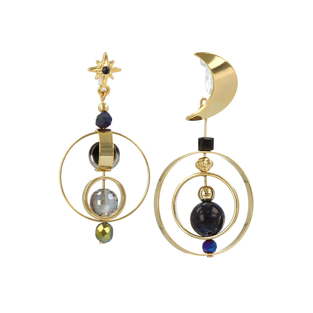 Star And Moon Invisible Clip On Earrings - osewaya