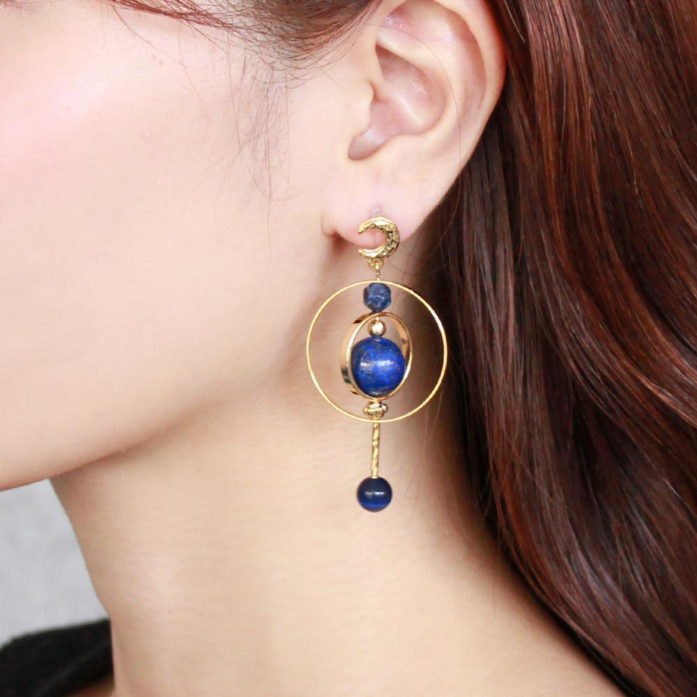 Cat's Eye and Lapis Lazuli Globe Invisible Clip On Earrings