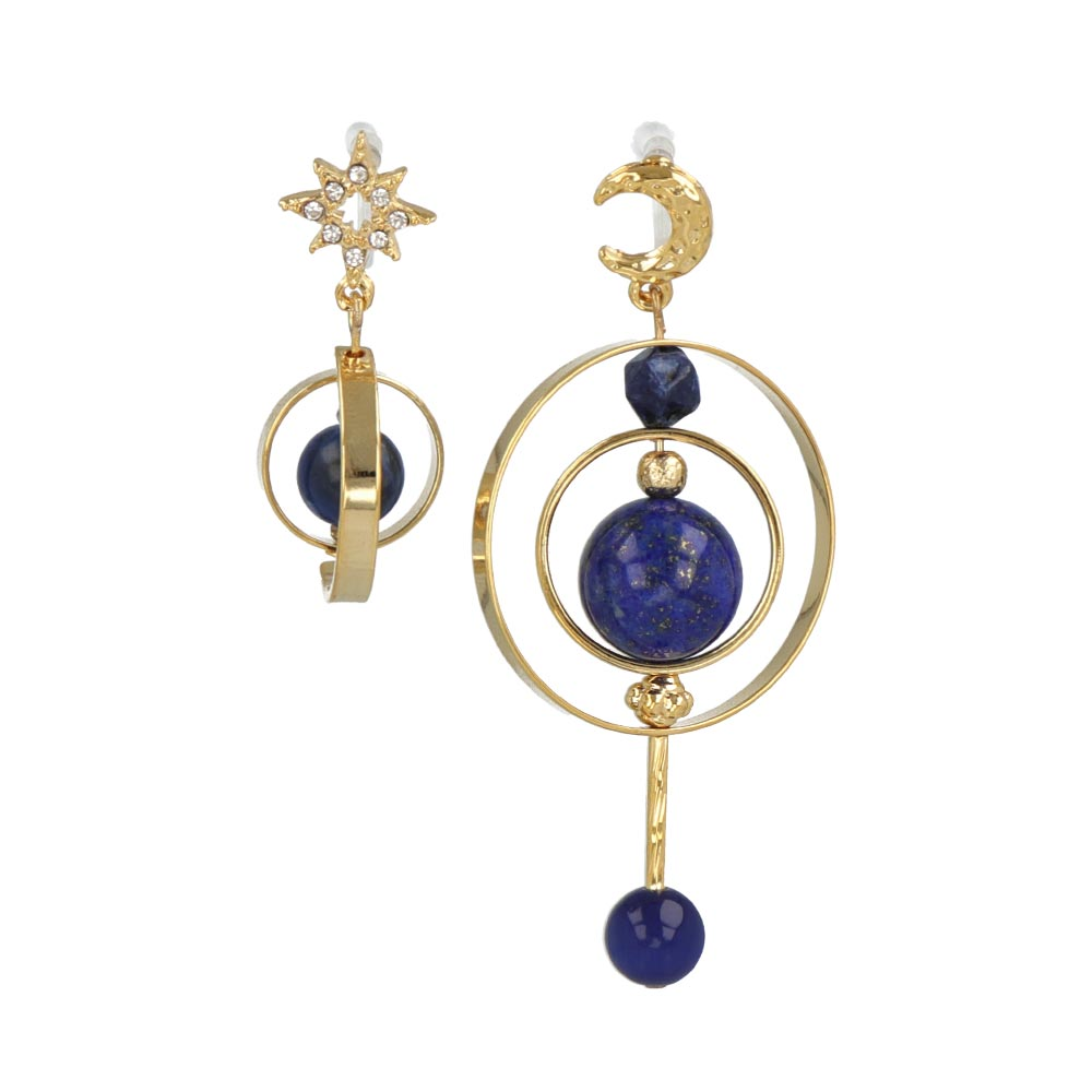 Cat's Eye and Lapis Lazuli Globe Invisible Clip On Earrings - osewaya