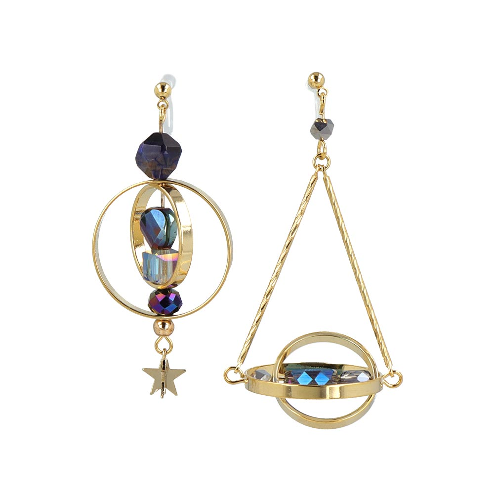 Star and Satellite Invisible Clip On Earrings - osewaya
