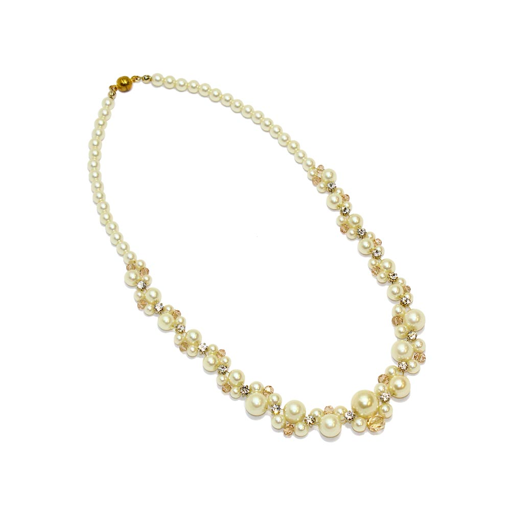 Cluster Pearl Magnet Clasp Necklace - osewaya
