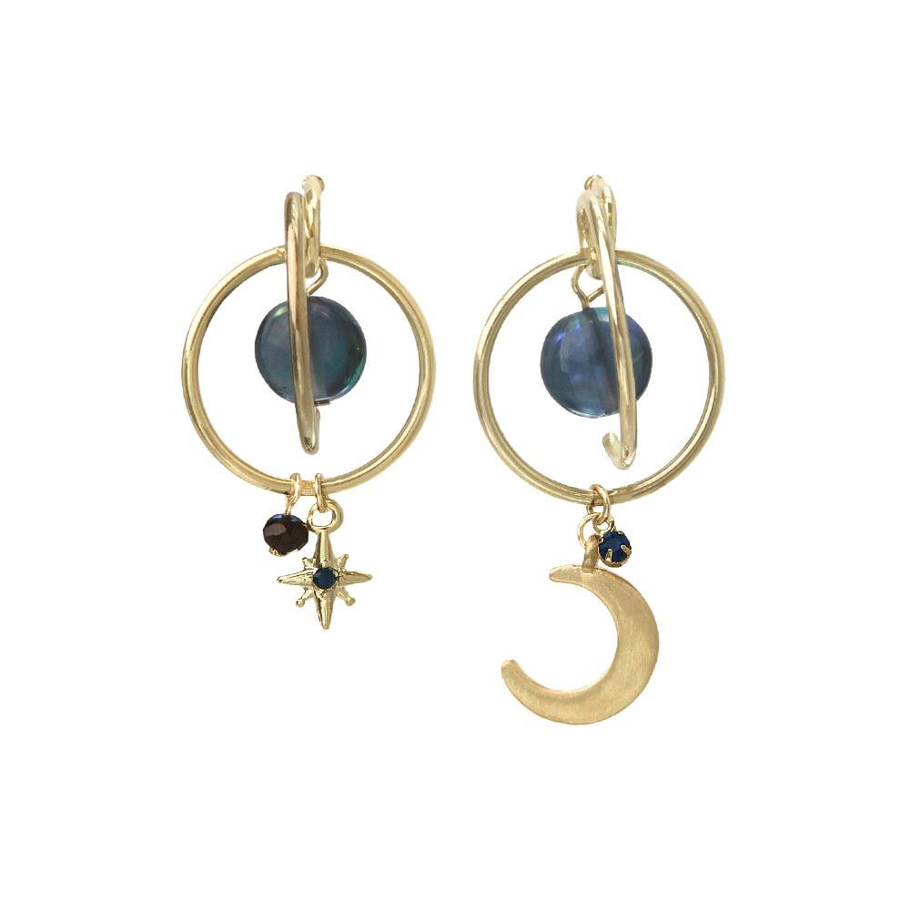 Star and Crescent Moon Orbital Hoop Earrings