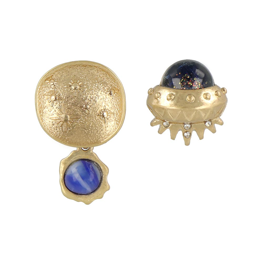 UFO and Moon Mismatch Earrings